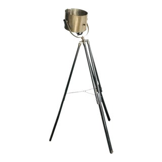 Vintage Industrial Brass and Wood Spotlight Tripod Floor Lamp For Sale