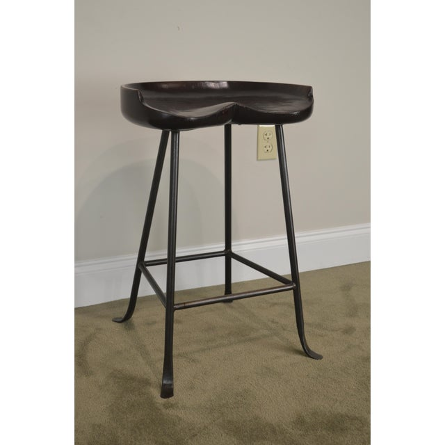 Iron Custom Quality Solid Wood Seat Pair of Iron Backless Bar Stools For Sale - Image 7 of 13