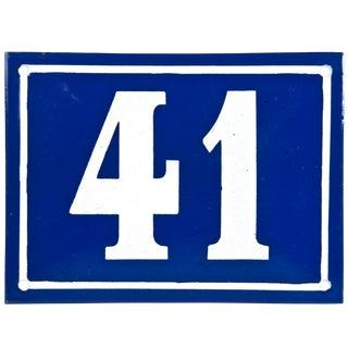 "Large Vintage French ""41"" Enamel House Number"