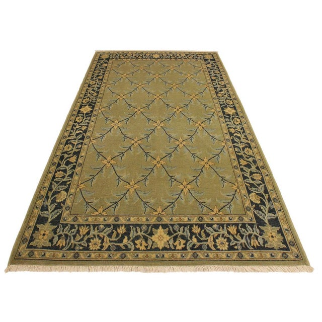 Semi Antique Istanbul Hortenci Lt. Green/Charcoal Turkish Hand-Knotted Rug -4'2 X 6'0 For Sale - Image 4 of 8