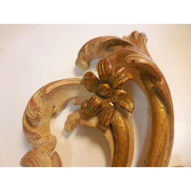 Italian Gilt Carved Wood Wall Sconces - A Pair - Image 6 of 9