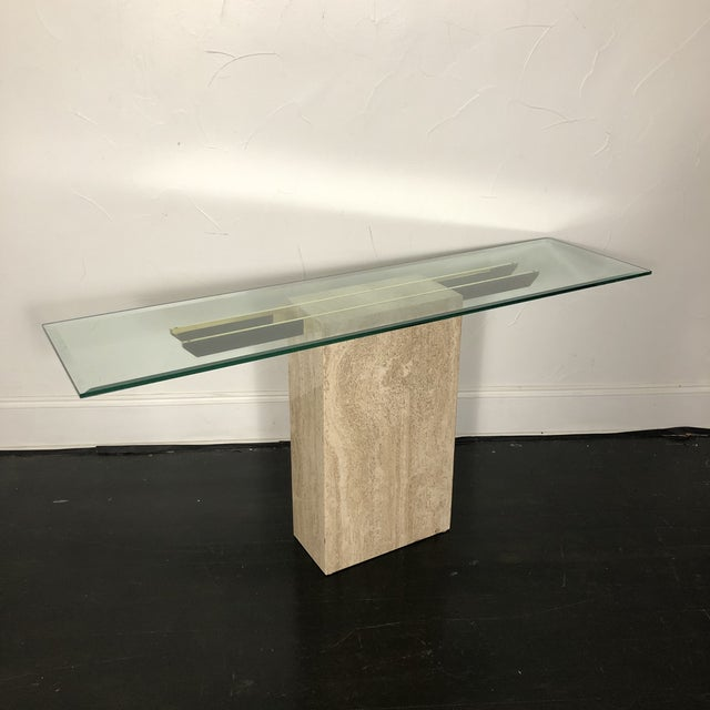Mid-Century Modern 1970s Italian Marble/Brass Artedi Console Table For Sale - Image 3 of 13