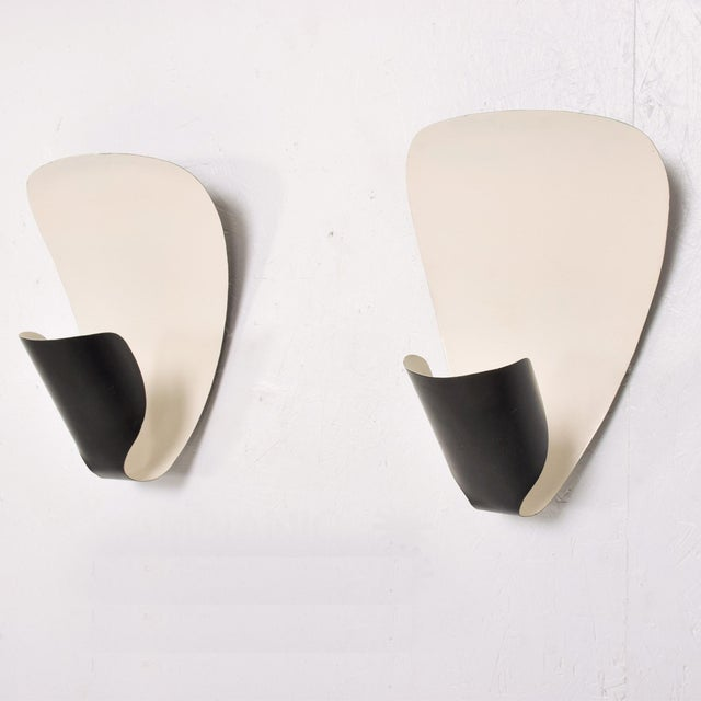 Michel Buffet French Wall Sconces B206 by Michel Buffet Black and White Wall Lamp Set For Sale - Image 4 of 9
