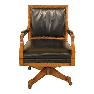 Regency Style Black Leather Swivel Desk Chair For Sale
