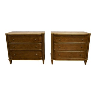 Dessin Fournir Directoire Style Gilt Decorated Walnut Chet of Drawer Commodes - a Pair For Sale