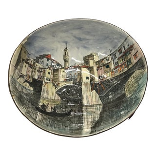 Hand Painted Leather-Backed Firenze Bowl For Sale