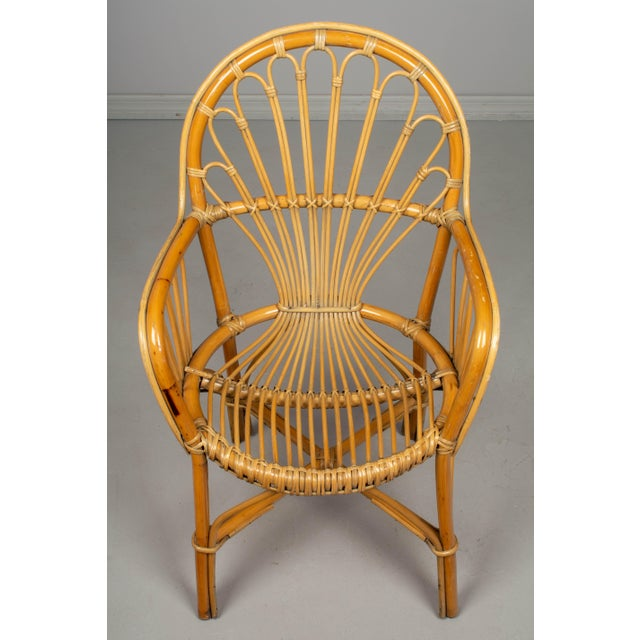 Wood French Bamboo & Rattan Dining Chairs- Set of 4 For Sale - Image 7 of 11