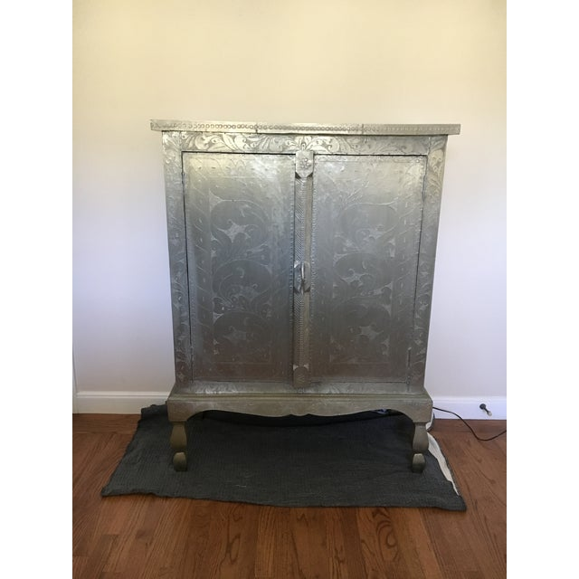 Indian Silver Etched Cabinet - Image 2 of 7