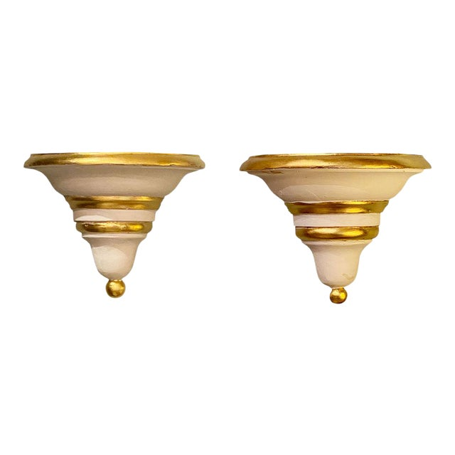 Late 20th Century Gold and White Brackets - a Pair For Sale