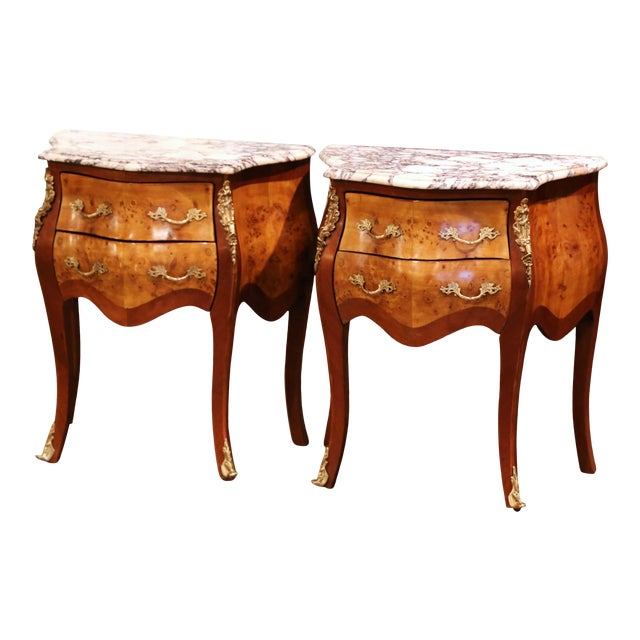 Vintage Louis XV Burl Walnut Bombe Nightstands Chests With Marble Top - a Pair For Sale