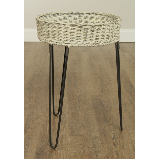 1990s Round Wicker Planter Table With Hairpin Legs For Sale - Image 5 of 12