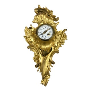 Antique 1870's Puech Small Gilded Bronze Clock For Sale