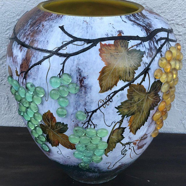 Large Art Glass Vase With Applied Grapes, After Daum Nancy For Sale - Image 4 of 13