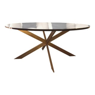 """Mid-Century Modern Solid Brass Double-X Base Coffee Table by Leon Rosen for Pace 42""""Wide For Sale"""