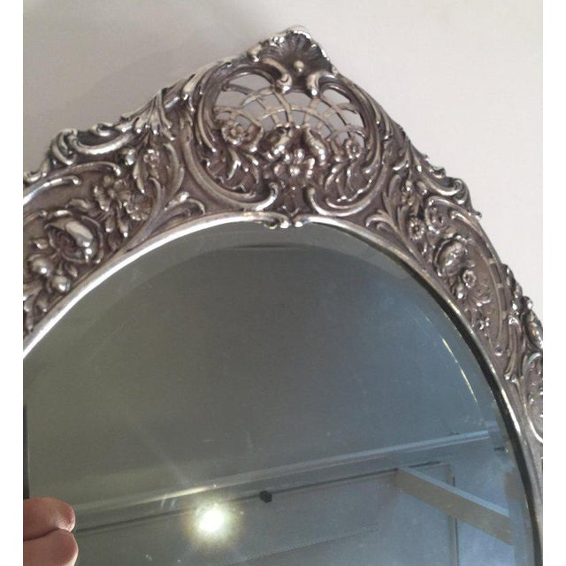 Tiffany and Co. Antique Tiffany Repousse Sterling Silver Standing Vanity Mirror For Sale - Image 4 of 13