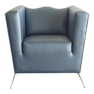 80s Upholstered Metallic Blue Club Chair W/ Splayed Legs For Sale