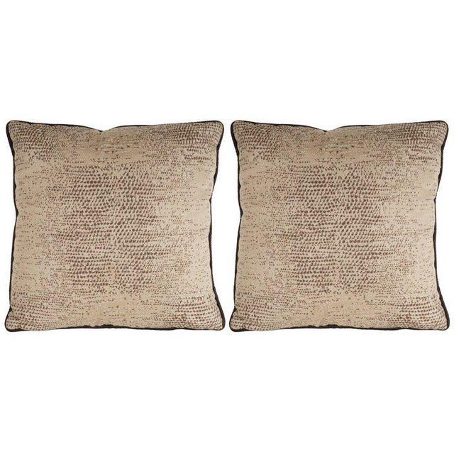 Tan Pair of Modernist Pillows with Dark Chocolate Piping and Stylized Lizard Print For Sale - Image 8 of 8