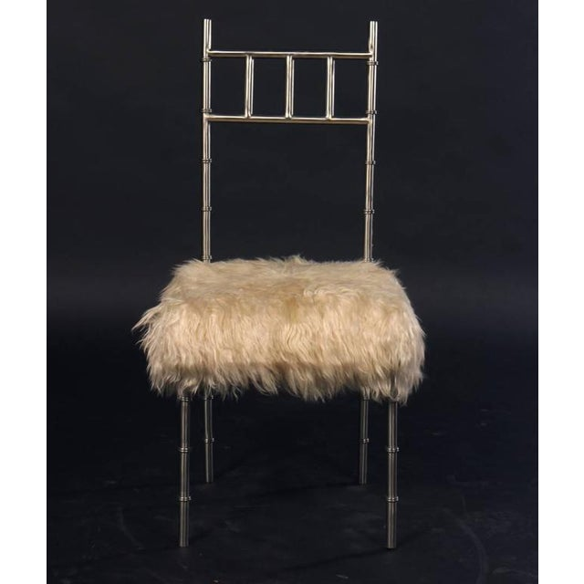 Nickel over Iron Bamboo Chairs with Goat Fur Seats - A Pair - Image 2 of 6