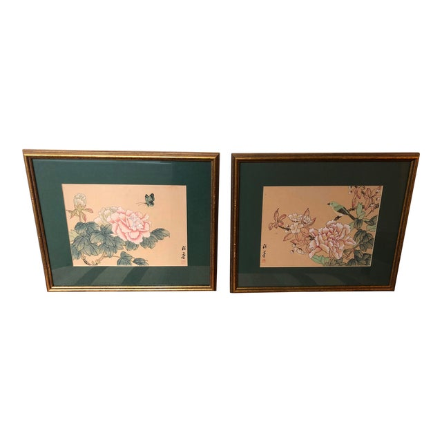 1940s Vintage Chinese Floral Watercolor Paintings - A Pair For Sale