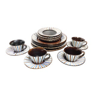 1940s Vintage Handmade Signed RAS Pottery Dinnerware - Set of 16 For Sale