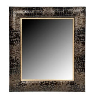 Black Crocodile Leather Framed Mirror With Gold Tipping For Sale