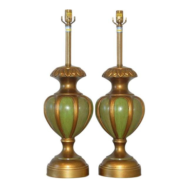 Marbro Italian Ceramic Table Lamps Green For Sale