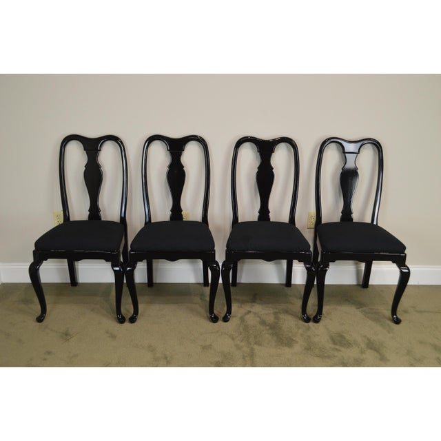 Black Lacquer Set of 4 Queen Anne Dining Chairs For Sale In Philadelphia - Image 6 of 13