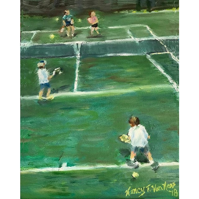 "2010s ""The Tennis Game"" Original Oil Painting Framed Painting by Nancy T Van Ness For Sale - Image 5 of 13"