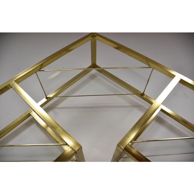 Gold Milo Baughman Style Brass Etagere For Sale - Image 8 of 9