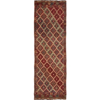 Contemporary Geometric Wool Kilim Rug - 3′5″ × 10′5″ For Sale