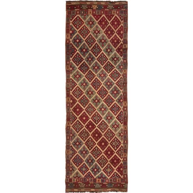 Contemporary Geometric Wool Kilim Rug - 3′5″ × 10′5″ For Sale