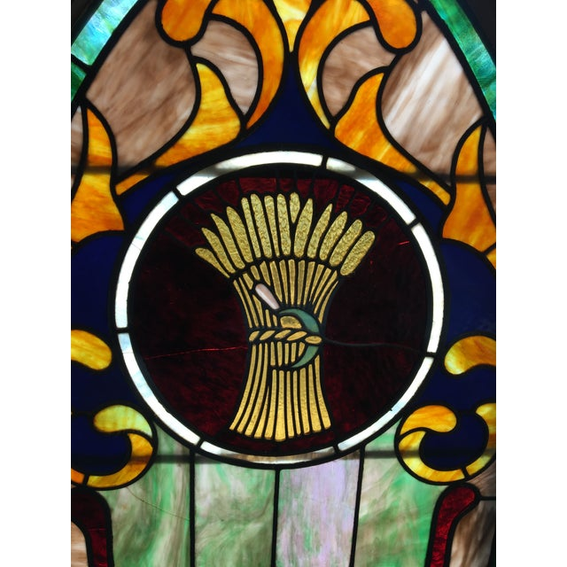 Victorian Late 19th Century Vintage Wheat and Sickle Gothic Leaded Stained Glass Window For Sale - Image 3 of 8