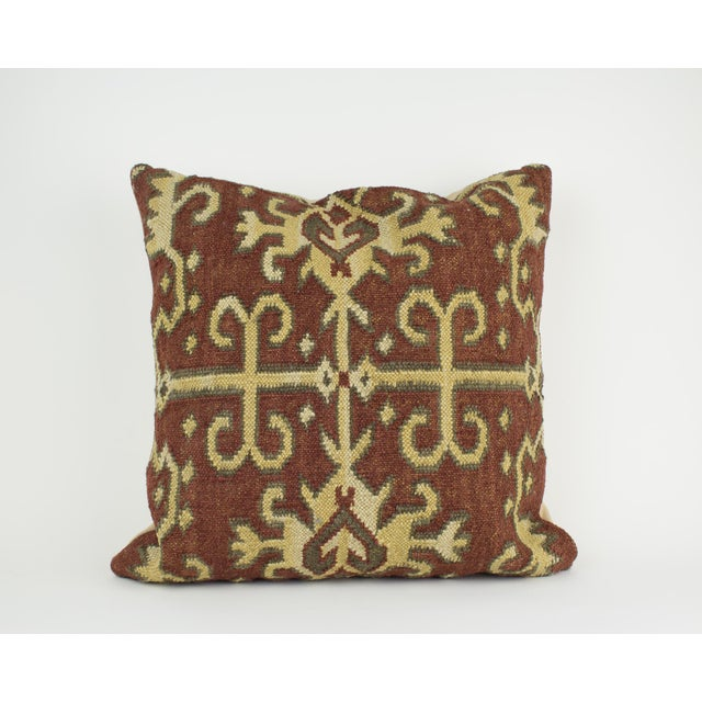 Brown and Tan Wool Textile Kilim Pillow For Sale - Image 9 of 9