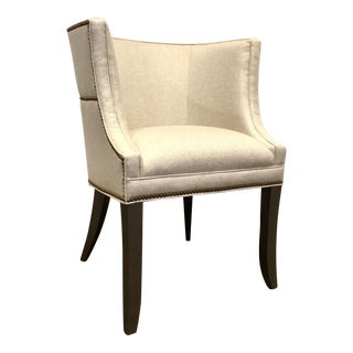 Hickory White Transitional Oatmeal Linen Blend Barrel Back Lounge Chair 4831-01 For Sale