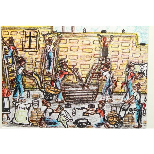"""Alvin Batiste """"Figures building a wall,"""" colored pencil and ink on paper, signed and dated lower right, """"Alvin Batiste.""""..."""