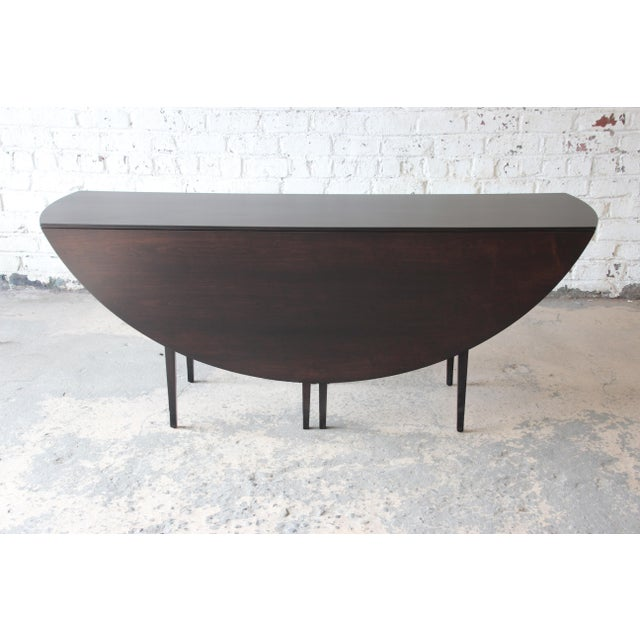 Dunbar Furniture Edward Wormley for Dunbar Mid-Century Walnut Oval Drop-Leaf Dining Table For Sale - Image 4 of 13