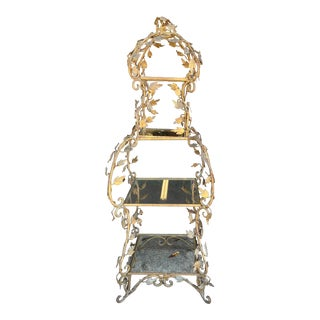 Hollywood Regency Wrought Iron Etagere French Style For Sale