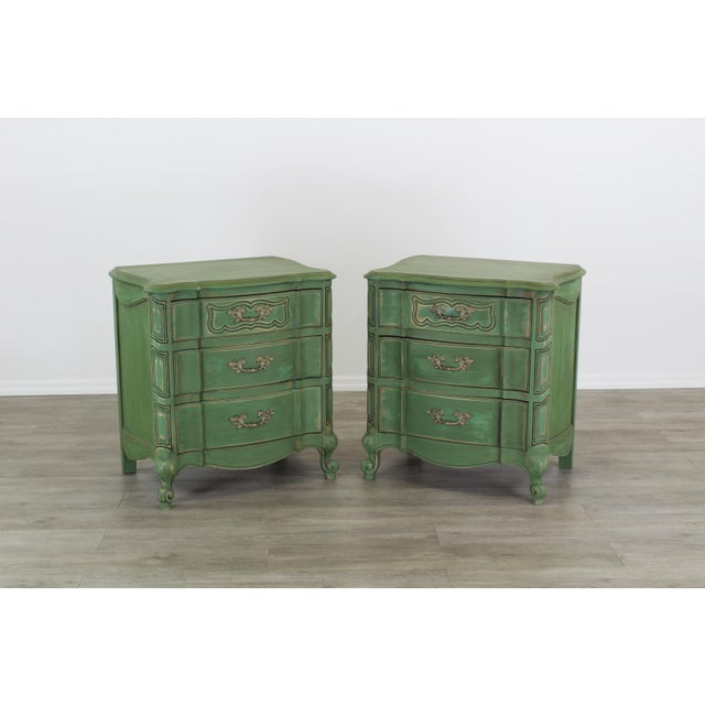 Pair of French Provincial nightstands with 3-drawers and metal hardware these nightstands are nicely painted in a lovely...