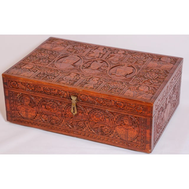 Anglo-Indian Large Early 19th Century Antique Hand Carved Wooden Decorative Box For Sale - Image 3 of 13