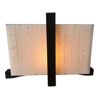 Vintage Tarogo Style Japanese Wood Table Lamp Lantern With Raw Silk Shade For Sale