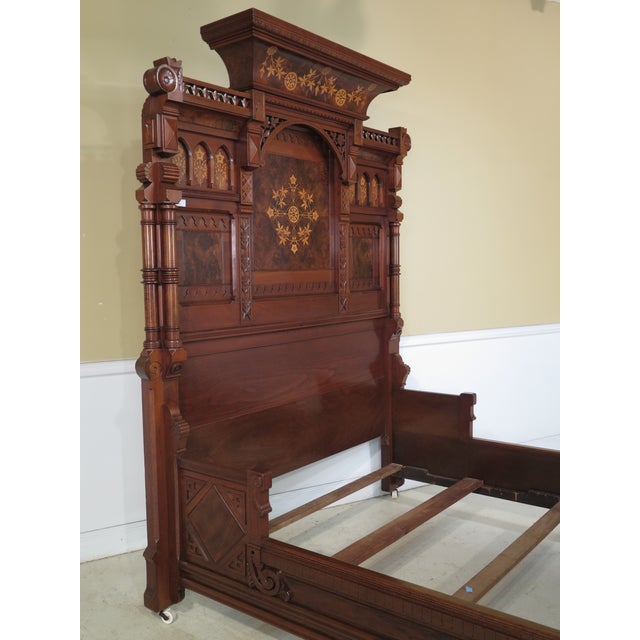 Herter Brothers Aesthetic Victorian Inlaid Walnut Queen Bedroom Set - A Pair - Image 4 of 11