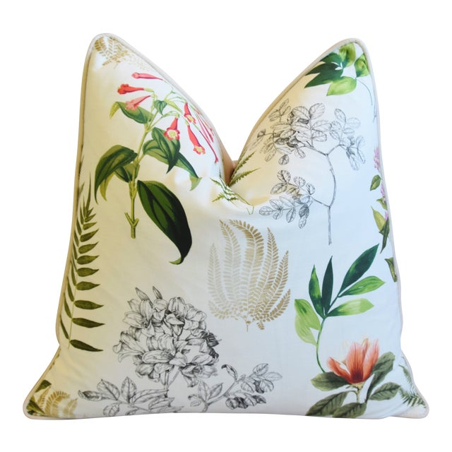 "Botanical Floral Fern Linen & Velvet Feather/Down Pillow 24"" Square For Sale"