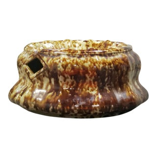 Antique Rockingham Brown Glazed Bennington Pottery Stoneware Spittoon Vessel For Sale