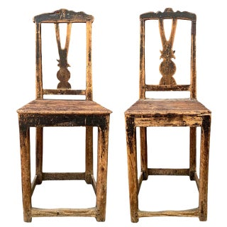 Pair of 17th Century Danish Baroque Side Chairs For Sale