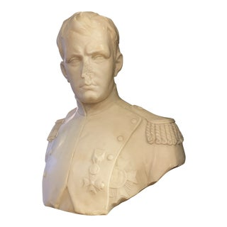 Napoleon Marble Bust W/ Granite Base For Sale
