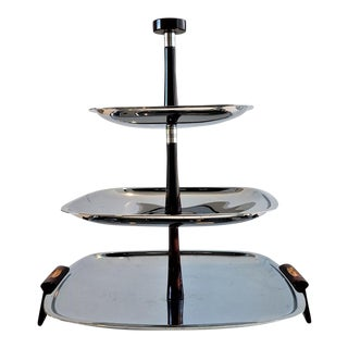Mid-Century 3 Tier Chrome & Bakelite Serving Tray For Sale
