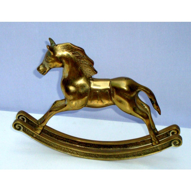 Hollywood Regency Mid-Century Brass Rocking Horse - Image 5 of 11