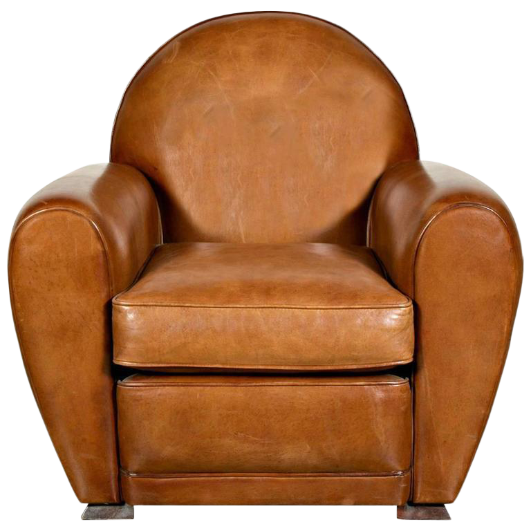 French Art Deco Childu0027s Leather Club Chair For Sale