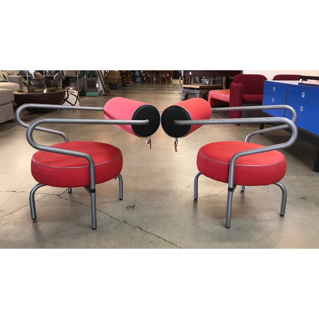 Amazing pair of post modern arm chairs made by Innovations of Denmark. This pair is in good condition, original red nylon...