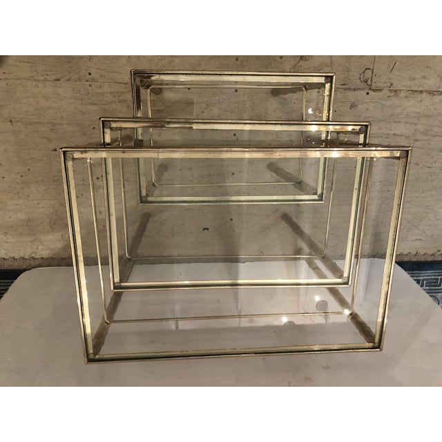 Asian Mid-Century Modern Faux Bamboo Brass/Glass Nesting Tables - Set of 3 For Sale - Image 3 of 4